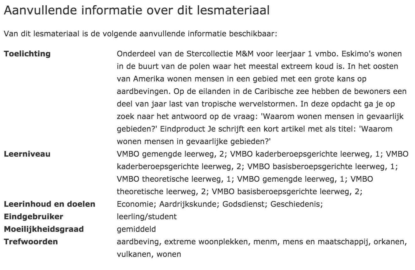 metadata in de colofon van een arrangement