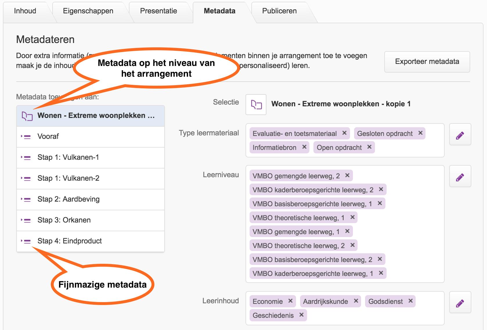 metadata van een arrangement in Wikiwijs maken