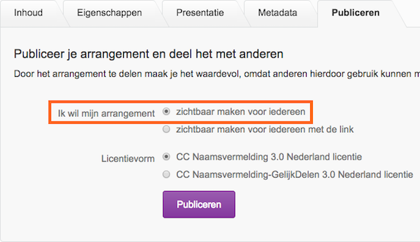 Publicatiescherm arrangement Wikiwijs Maken